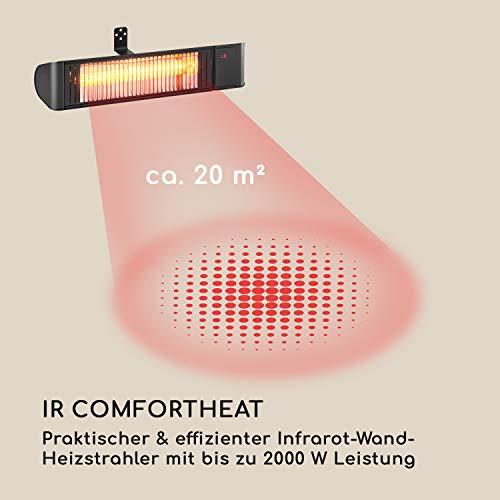 blumfeldt Gold Fever Smart • Infrarot-Heizstrahler • Terrassenheizstrahler • 2000 W • 6 Wärmestufen • Infrarot • Bluetooth • App-Control • bis 20 m² • inkl. Fernbedienung und Wandhalterung • schwarz - 3