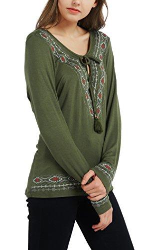 Urban GoCo Boho Oberteil Stickerei Lose Tops Shirts Armeegrün