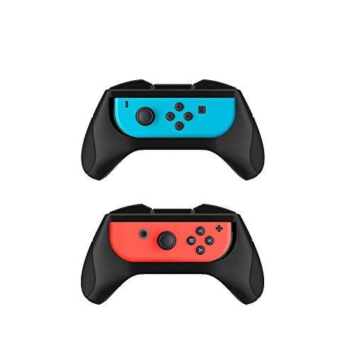 AVIDET (2 Pezzi) Mano Comfort Joy-Con Grip Controller GamePad Joypad Duro plastica titolare Stand Grip per Nintendo Switch (Nero)