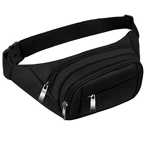 107e4ae71d95 Black Bumbags and Fanny Packs for Women Men CAMORF Large Capacity Waist Pack  4 Pockets -