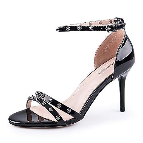 Chaussures de rivet d'été/sandales stiletto/dame avec des chaussures-A Longueur du pied=23.3CM(9.2Inch)
