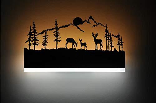 MOOMDDY Wall lampInnenwandleuchte 14W LED Wandleuchte Schlafzimmer Schmiedeeisen Elch Design Treppenhaus Flur Dekoration