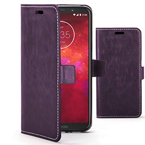 Forefront Cases Premium Flip Case Handyhülle für Motorola Moto Z3 Play   Handgefertigt und Handgenäht   Multifunktionales Geldbörse Ständer Design   Doppelter Schutz vor Stößen und Fallenlassen   Violett