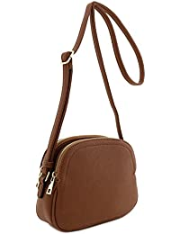 Alyssa Double Zip Half Moon Crossbody Bag