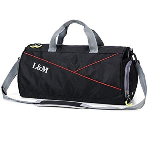 Sporttasche Männer Sporttasche Reisetasche Tragbaren Zylinder Tasche Große Kapazität Schulter Training Tasche Kleine Gepäck Tasche Damenschuhe,Black-50 * 25 * 26cm