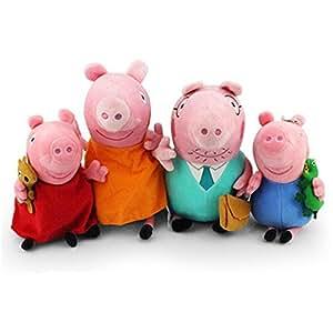 TopPeppa cochon peluche famille 4pcs set cochon Papa Mama de 30cm et 23cmGeorge Peppa Pig comme un cadeau