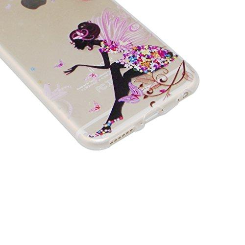 iPhone SE Hülle, iPhone 5S Hülle, iPhone 5S Case,EMAXELERS iPhone SE 5 5S Hülle Soft Slim TPU Bumper Case Soft Silikon Gel Schutzhülle,Niedlich Blumen Fairy Mädchen Serie Transparent Silikon Crystal C Fairy Girl TPU 2