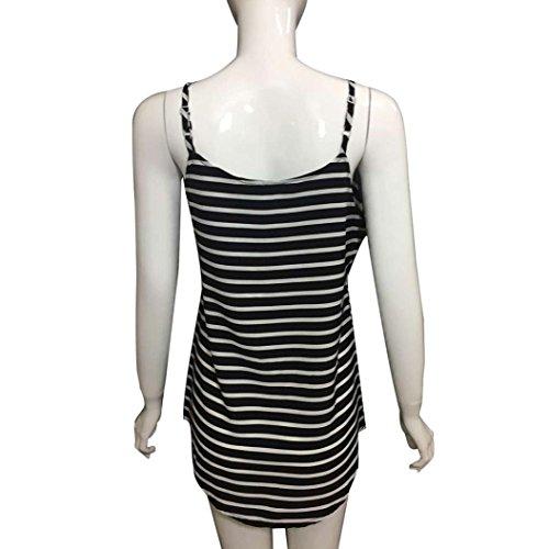 Yogogo T-Shirt, V-Ausschnitt Top Striped Short Camisole Damen Weste für Frauen Schwarz