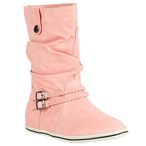 Damen Stiefeletten Bequeme Schlupfstiefel Flache Übergangs-Schuhe 150561 Türkis Camargo 37 Flandell