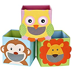 SONGMICS Lot de 3 Boîtes de Rangement, Organisateurs Jouets, Cubes Pliables, pour Salon, Chambre Enfant, Salle de Jeux, 27 x 27 x 27 cm, Motifs Animaux, Multicolore RFB01KU