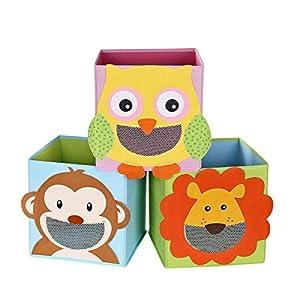 SONGMICS Aufbewahrungsbox 3er Set, Spielzeugkisten, Spielzeug-Organizer, faltbare Würfel, fürs Kinderzimmer, Babyzimmer, 27 x 27 x 27 cm, Tiermotive, bunt RFB01KU