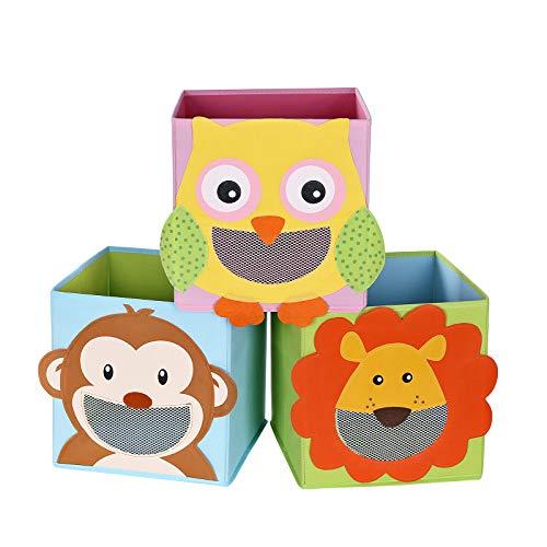 SONGMICS Juego de 3 Cajas de Almacenamiento, Cajas de Juguetes, Cubos Plegables,para Salón, Habitación...