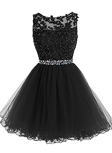 Azbro Women's Sleeveless Lace Rhinestone Short Bridesmaid Dress Black