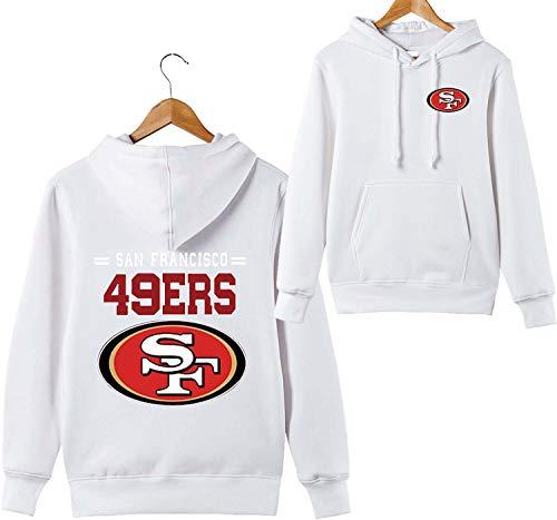 ZXTXGG Männer 3D Hoodies San Francisco 49ers SF NFL Football Team Uniform Muster Digitaldruck Liebhaber Kapuzenpullis(XXXL,Weiß)