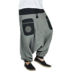 virblatt Pantalones Bombachos Hombre con Mandala Bordada Bolsillo Lateral. Los Pantalones GPA Stampfgewand Grey/Black