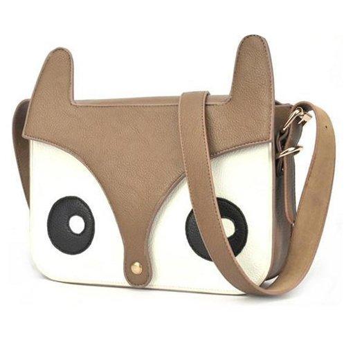 Accessotech Fashion PU Leder Retro Kontrast Farbe Eule Fox Tasche Messenger Crossbody Handtasche (Farbe Kontrast Leder)