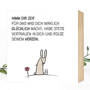 Wunderpixel® Holzbild Zeit-hab-Hase - 15x15x2cm zum Hinstellen/Aufhängen, echter Fotodruck mit Spruch auf Holz - schwarz-weißes Wand-Bild Aufsteller zur Dekoration im Büro/Zuhause/als Geschenk