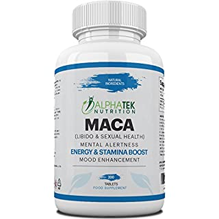 Maca Extract, Maca Supplement with 200 Vegetarian Tablets - Super High Strength - Suitable for Men and Women by AlphaTek Nutrition