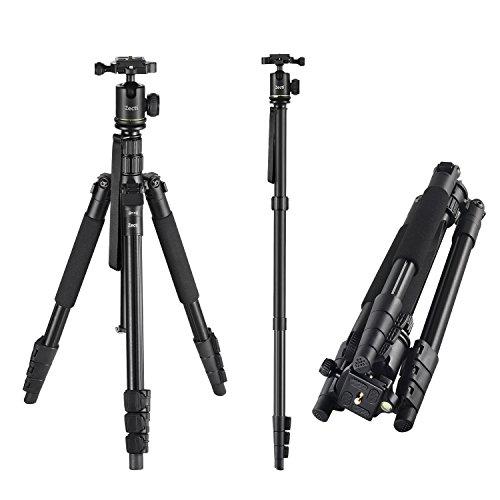 Kamera Stativ, Zecti Stativ Compact Leichtes Aluminum Stativ mit Ballkopf und Tragetasche, Fotostativ für Canon Sony Nikon DSLR Kamera Dreibeinstativ Höhe 40cm-160cm Kapazität 8kg - Schwarz