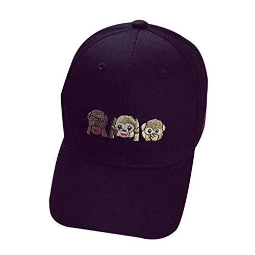 Kingko® Broderie Coton Unisexe Casual Baseball Cap Garçons Filles Snapback Hip Hop Flat Hat Or