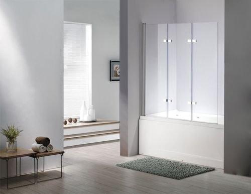 faltbare duschwand fuer badewanne Glas Duschabtrennung SEATTLE Badewanne Faltwand Duschwand Badewannenfaltwand 6mm ESG Sicherheitsglas - komplett faltbar - Nano (Glas)