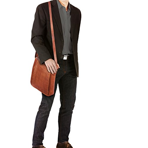 STILORD 'Paul' Borsa a tracolla in pelle Messenger uomo donna vintage Borsa per l'università documenti A4 Borsello grande formato verticale in vero cuoio, Colore:cognac-marrone cognac-marrone