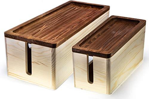 Rustikale Holzbox für Kabel-Organizer, große Aufbewahrungsbox für Schreibtisch, TV, Computer, USB-Hub, System zum Abdecken und Verstecken von Stromstreifen und Kabeln. (Steckdosen-abdeckungen Rustikale)