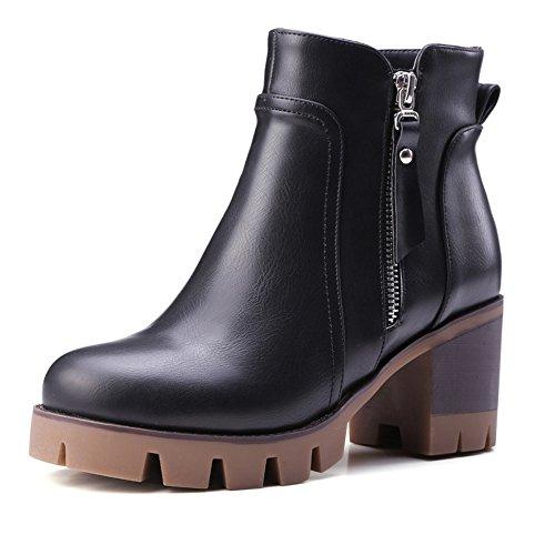 COOLCEPT Damen Blockabsatz Knoechel Plateau Schuhe für die Reißverschluss Martin Stiefel Schwarz