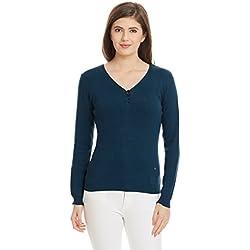 United Colors of Benetton Women's Cotton Sports Knitwear (16A1092D6163IA13L_Blue)
