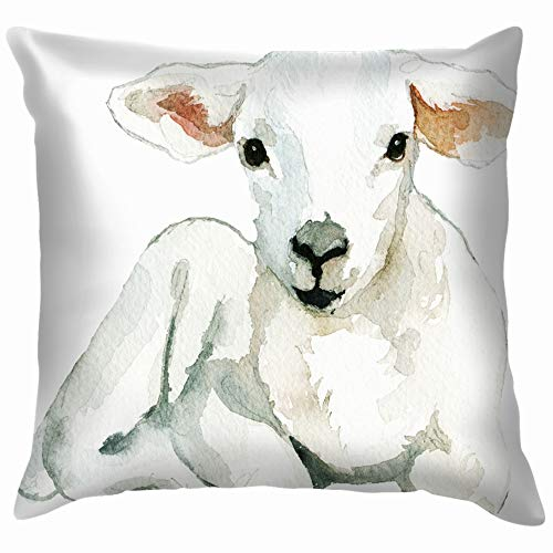 beautiful& White Sheep Baby Lamb Laying Watercolor The Arts Watercolour Nature Cotton Linen Home Decorative Throw Pillow Case Cushion Cover for Sofa Couch 18X18 Inch (Printables Halloween Party)