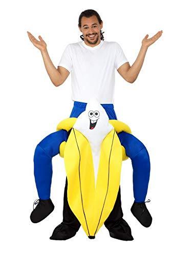Halloweenia - Herren Männer Damen Kostüm Plüsch Huckepack Piggyback Banane Banana Fell Einteiler Onesie Overall Jumpsuit, perfekt für Karneval, Fasching und Fastnacht, One Size, Gelb