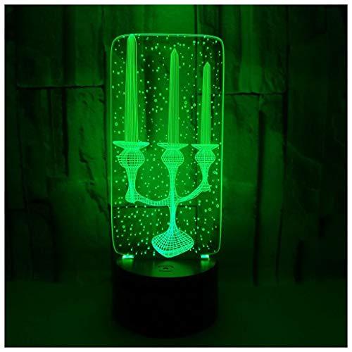 Lihua 3D Nachtlicht, Kerze Stereo Nachtlicht Bunte Acryl Touch Remote 3D Kleine Tischlampe, 3D Nachtlicht -