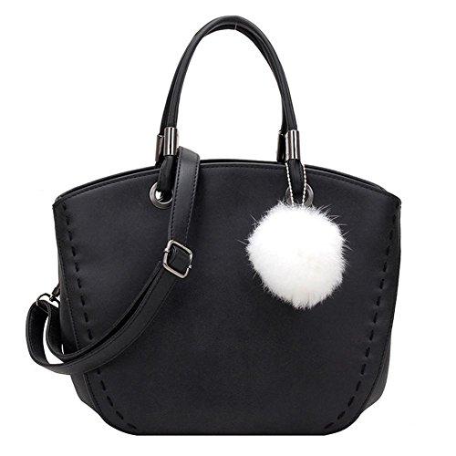 HQYSS Damen-handtaschen Weinlese-Hairball verzierte Nubuck Schulter-Kurier-Beutel-Handtaschen-feste Farben-runde Einkaufstasche für Frauen und Mädchen black