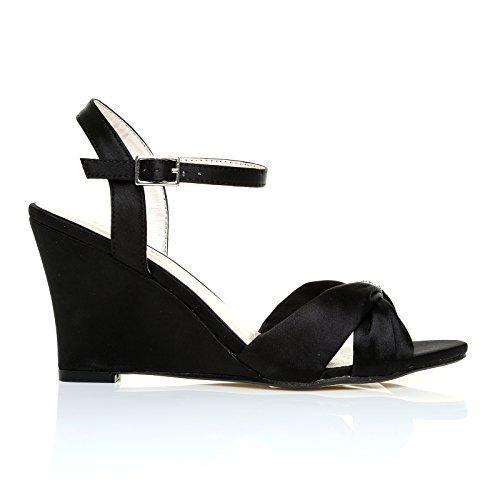 Chaussures De Cérémonie À Talons Hauts Pour Femmes Et Sangles Compensées Avec Bretelles En Satin Noir Ange Noir Satiné