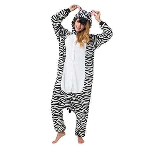 Katara 1744 - Zebra Kostüm-Anzug Onesie/Jumpsuit Einteiler Body für Erwachsene Damen Herren als Pyjama oder Schlafanzug Unisex - viele verschiedene Tiere
