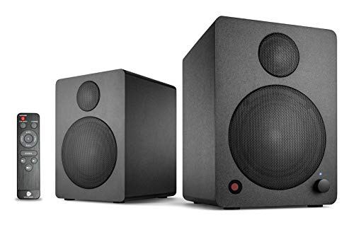 wavemaster CUBE MINI NEO black - Regallautsprecher-System (36 Watt) mit Bluetooth-Streaming, Digitalanschluss und IR-Fernbedienung, Aktiv-Boxen, Nutzung für TV/Tablet/Smartphone, schwarz (66370) -