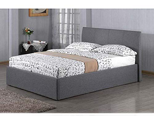Kelsey Stores 3ft, 4ft, 4ft6, 5ft Fusion Grey Linen Fabric Ottoman Storage Bed Double Single King Storage Bed ltd(4FT Storage Bed)