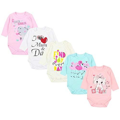 *TupTam Baby Unisex Langarm Body mit Aufdruck Spruch 5er Pack, Farbe: Mädchen 4, Größe: 56*