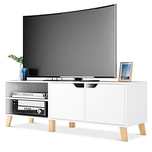 Homfa Mueble TV Salón Mesa para TV con 2 Puertas 2 Compartimientos Blanco 140x40x48cm