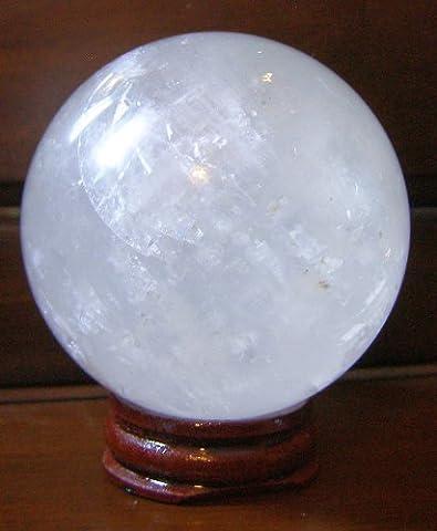 Teiwaz Gebō Sōwilō (Týr's Gift of the Sun) Gems Boule tibétaine de cristal de roche (quartz transparent naturel) 40mm (90g) sur support en bois - guérison Reiki