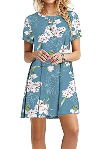 YMING Damen Casual Shirtkleid Kurzarm Langes Shirt Rund Ausschnitt Basic Tunikakleid,Blau Lilie,XXL/DE 44