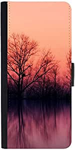 Snoogg Nature Wallpaper Graphic Snap On Hard Back Leather + Pc Flip Cover Lg G2