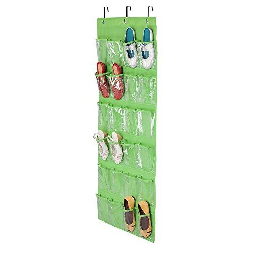 Toys Lagerung, 24Pocket, zum Aufhängen Organizer  über der Tür hängenden Schuh Organizer Tasche mit- und Metall Haken Zubehör für Badezimmer, Waschküche Gegenstände von watooma, grün (Reise-puppe Möbel)