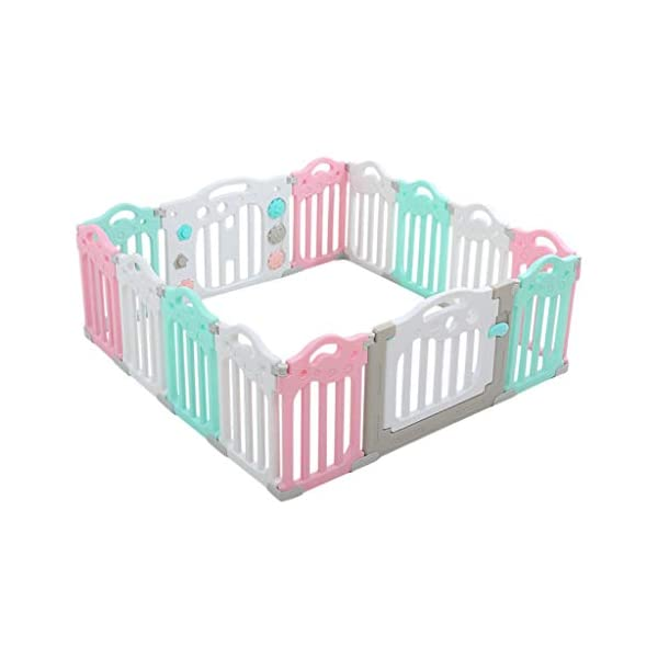 Baby Playpen HUYP Pet Fence Panels Baby Fence Play Area Children's Indoor Crawling Toy Safety Fence (color : Pink, Size : 12 small pieces) Baby Playpen  1