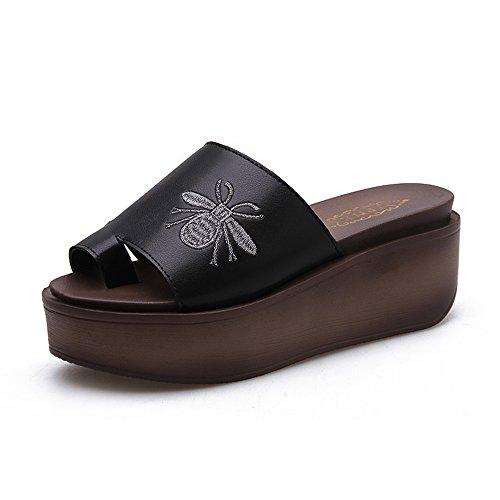 Estate Sandali Sandali donna Estate Comfort PU Outdoor Camminare Creepers Fibbia Bianco Nero Colore / formato facoltativo Nero