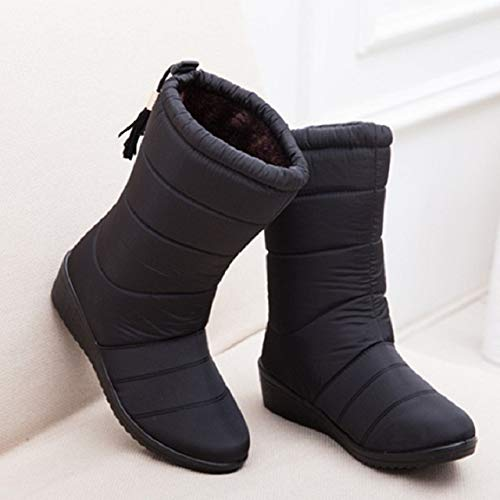 PIAOLDXZ Stivali Stivali da Donna Stivali da Pioggia Impermeabili Scarpe da Donna Stivali da Neve Caldi Scarpe da Donna Casual Invernali Stivaletti Neri Ross