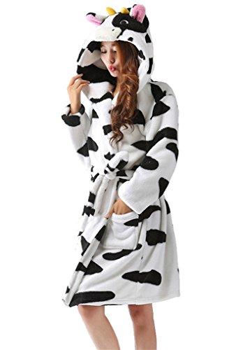 LazLake Flauschiger Bademantel Tier saunamantel Morgenmantel mit Kapuze pyjama kostüm Cow (Frauen Kostüm Bademantel)