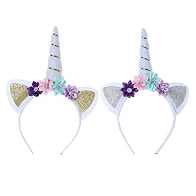 TOYMYTOY Unicorn Headband,Floral Hair Band Unicorn Horn Headpiece with Ears for Girls Party Dress Decorations (Gold anad Silver),2pcs