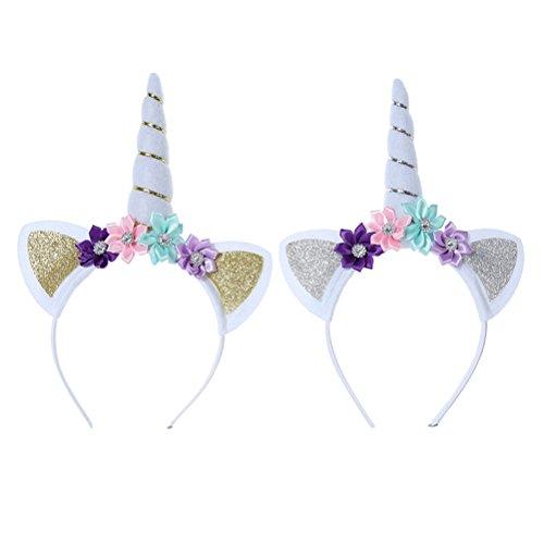 Yeahibaby 2 unicornios perlas florales perlas bandas