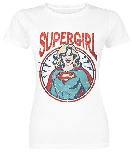 Supergirl Retro Circle Maglia donna bianco M